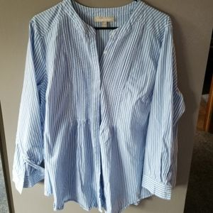 Woman Within Button Down Long Sleeve Striped Top